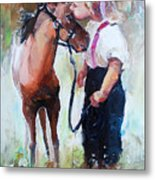 Oil Painting Of Little Girl Petting Her Metal Print