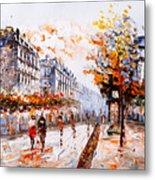 Oil Painting - Street View Of Paris Metal Print