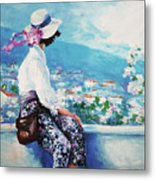 Oil Painting, Woman Sitting And Looking Metal Print