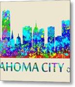 Oklahoma City Watercolor Metal Print