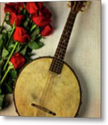 Old Banjo And Roses Metal Print