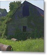 Old Barn And Hay Bales 2 Metal Print