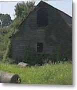Old Barn And Hay Bales 3 Metal Print