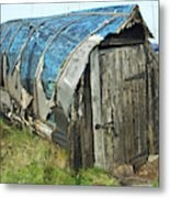 old boat hut at Lindisfarne island Metal Print