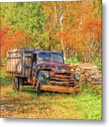 Old Farm Truck Fall Foliage Vermont Square Metal Print