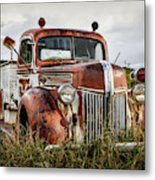 Old Fire Truck In The Mountains Metal Print