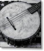 Old Mandolin Banjo In Black And White Metal Print