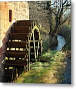 old mill wheel and stream at Preston Mill, East Linton Metal Print