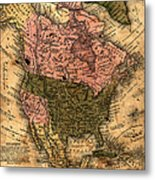 Old North America Map Metal Print