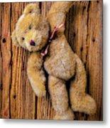 Old Teddy Bear Hanging On The Door Metal Print