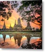 Old Temple Wat Chaiwatthanaram Metal Print