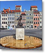 Old Town Market Square Of Warsaw In Poland Metal Print