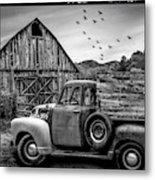 Old Truck At The Barn Bordered Black And White Metal Print