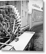 Old Water Wheel Certovka Canal Prague Black And White Metal Print