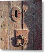 Old Wooden Door And Keyhole Metal Print