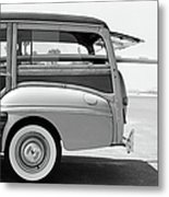Old Woodie Station Wagon With Surfboard Metal Print