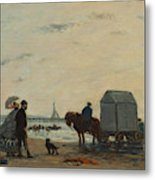 On The Beach At Trouville  Metal Print