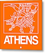 Orange Map Of Athens Metal Print