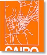 Orange Map Of Cairo Metal Print