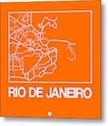 Orange Map Of Rio De Janeiro Metal Print
