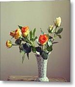 Orange Roses In Vintage Vase Metal Print
