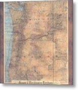 Oregon Washington Historic Map Colton Sepia Map Hand Painted Metal Print