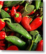 Organic Red And Green Peppers Metal Print
