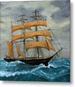 Original Artwork, Clipper Ships At Sea Metal Print