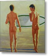 Original  Man Body Oil Painting  Gay Art -two Male Nude By The Sea#16-2-3-02 Metal Print