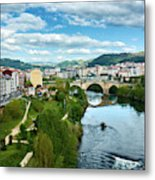 Ourense And The Roman Bridge From The Millennium Bridge Metal Print