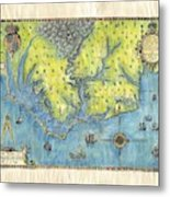Outer Banks Historic Antique Map Hand Painted Metal Print