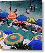 Overhead Of Umbrellas At Private Metal Print