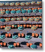 Overhead Of Umbrellas, Deck Chairs On Metal Print