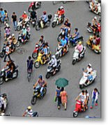 Overhead View Of Motorbike Traffic Metal Print