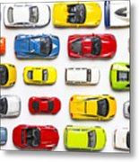Overhead View On Colorful Car Toys Metal Print