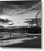 Pacific Park - Black And White Metal Print