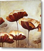 Painting Poppies With Texture Metal Print