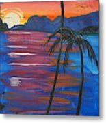 Palm Trees And Water Metal Print
