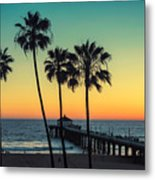 Palm Trees At Manhattan Beach. Vintage Metal Print
