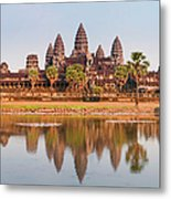 Panorama Of Angkor Wat Cambodia Ruins Metal Print