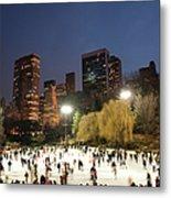 Panorama Of People Ice Skating In Metal Print