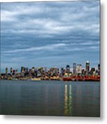 Panorama Of Seattle Skyline At Night With Storm Clouds Metal Print