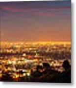 Panoramic View Of Los Angeles At Dusk Metal Print