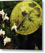 Parasol Among The Orchids Metal Print
