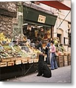 Paris, Fruit And Vegetable Shop In The Metal Print