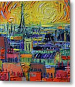Paris Rooftops View From Centre Pompidou - Textural Impressionist Stylized Cityscape Mona Edulesco Metal Print