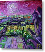 Paris View With Gargoyles Diptych Oil Painting Right Panel Metal Print