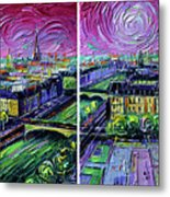 Paris View With Gargoyles - Textural Impressionist Diptych Oil Painting Mona Edulesco   Metal Print