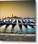 Parked Gondolas, Early Morning In Venice, Italy.  Metal Print