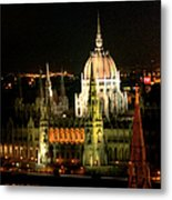 Parliament Building Lit Up At Night Metal Print